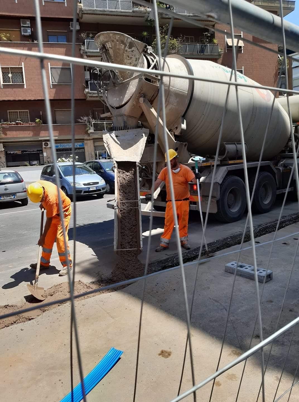 riempimento con betoniera